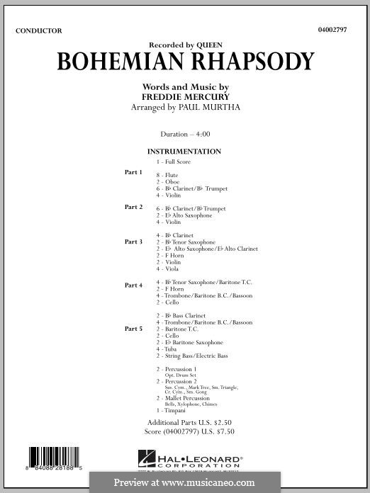 Bohemian Rhapsody (Queen): Full score by Freddie Mercury