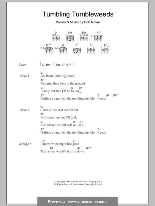 Tumbling Tumbleweeds (The Sons of Pioneers): Lyrics and chords by Bob Nolan