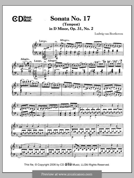 Sonata for Piano No.17 'Tempest', Op.31 No.2: For a single performer by Ludwig van Beethoven