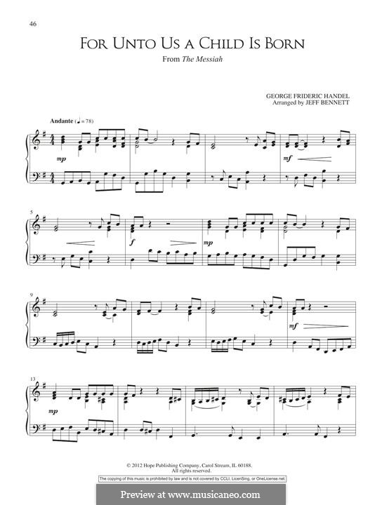 No.12 For Unto Us a Child is Born: For piano by Georg Friedrich Händel