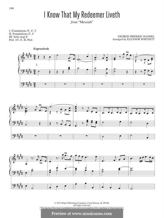 No.45 I Know That My Redeemer Liveth: For organ by Georg Friedrich Händel