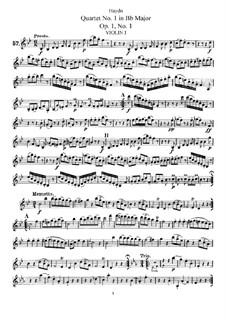 String Quartet No.1 in B Flat Major, Hob.III/1 Op.1 No.1: Violin I part by Joseph Haydn