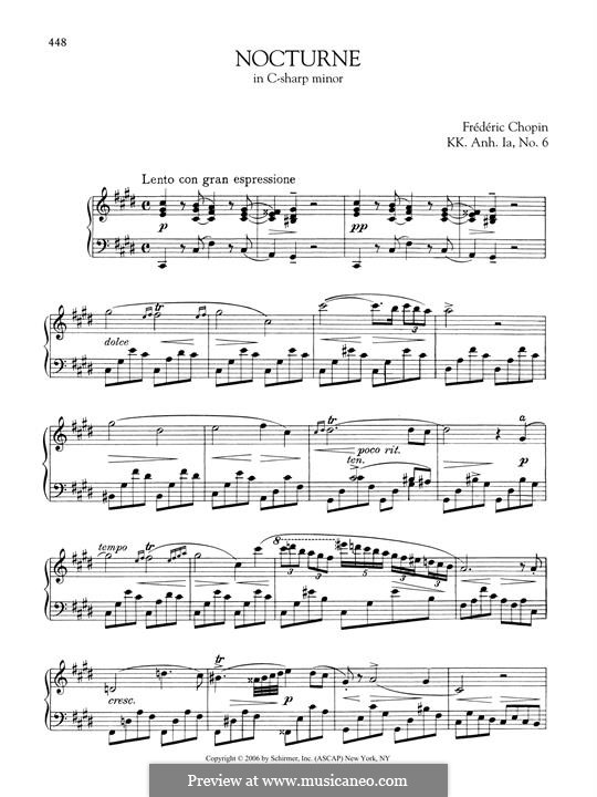 Nocturne oubliée in C Sharp Minor, KK A1/6: For piano by Frédéric Chopin