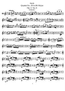 String Quartet No.10 in B Flat Major, Hob.III/12 Op.2 No.6: Violin I part by Joseph Haydn