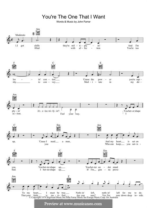 You're the One That I Want (from Grease): Melody line by John Farrar
