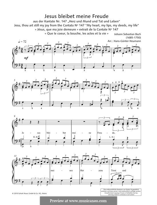 Jesus bleibet: For piano by Johann Sebastian Bach