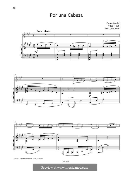 Por Una Cabeza: For violin and piano by Carlos Gardel
