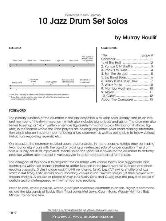 10 Jazz Drum Set Solos: 10 Jazz Drum Set Solos by Murray Houllif