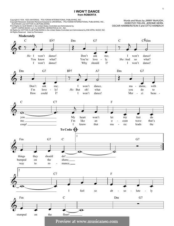 I Won't Dance: Melody line by Jerome Kern