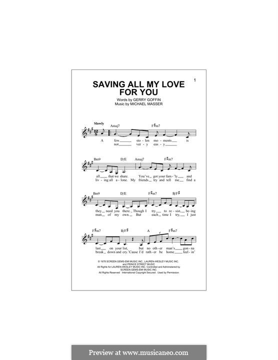 Saving All My Love for You (Whitney Houston): Melody line by Gerry Goffin, Michael Masser