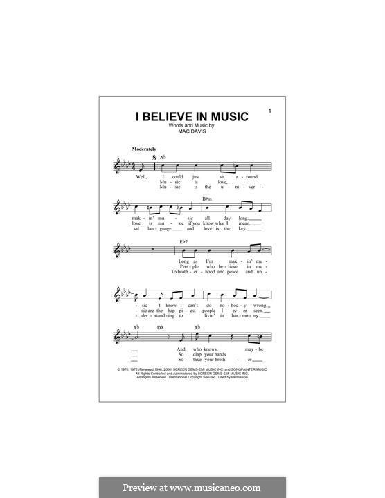 I Believe in Music (Gallery): Melody line by Mac Davis