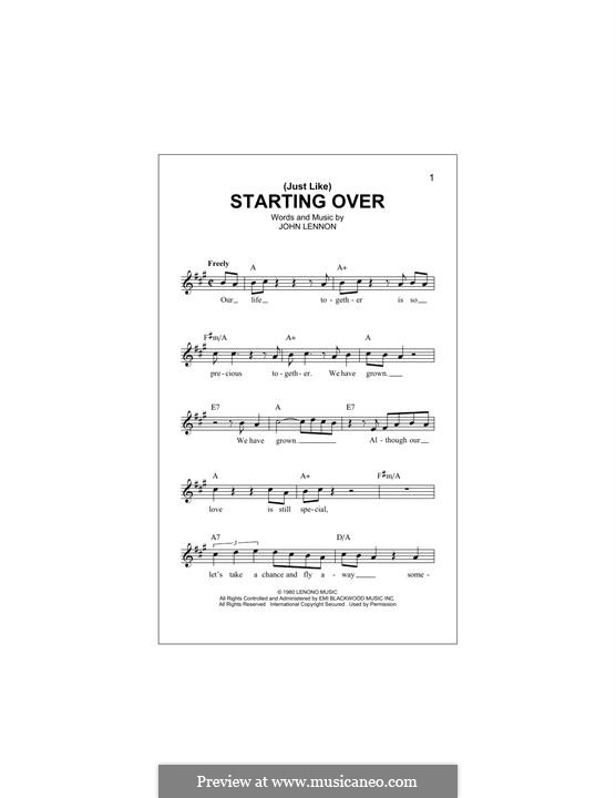 (Just Like) Starting Over: Melody line by John Lennon