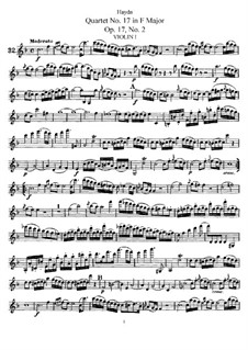 String Quartet No.17 in F Major, Hob.III/26 Op.17 No.2: Violin I part by Joseph Haydn