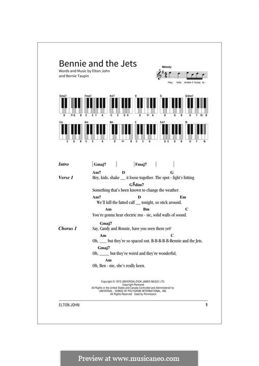 Bennie and the Jets: Lyrics and chords by Elton John