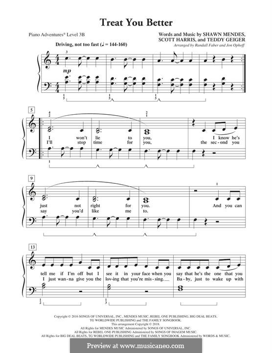 Treat You Better: For easy piano by John Theodore Geiger, Scott Harris, Shawn Mendes