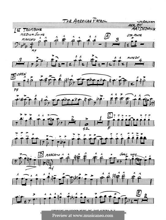 American Patrol, Op.92: 1st trombone part by Frank W. Meacham