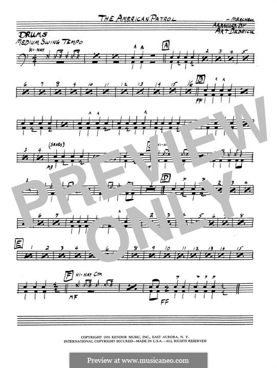 American Patrol, Op.92: Drum set part by Frank W. Meacham