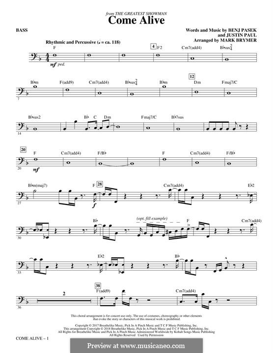 Come Alive (from The Greatest Showman): Bass part by Justin Paul, Benj Pasek