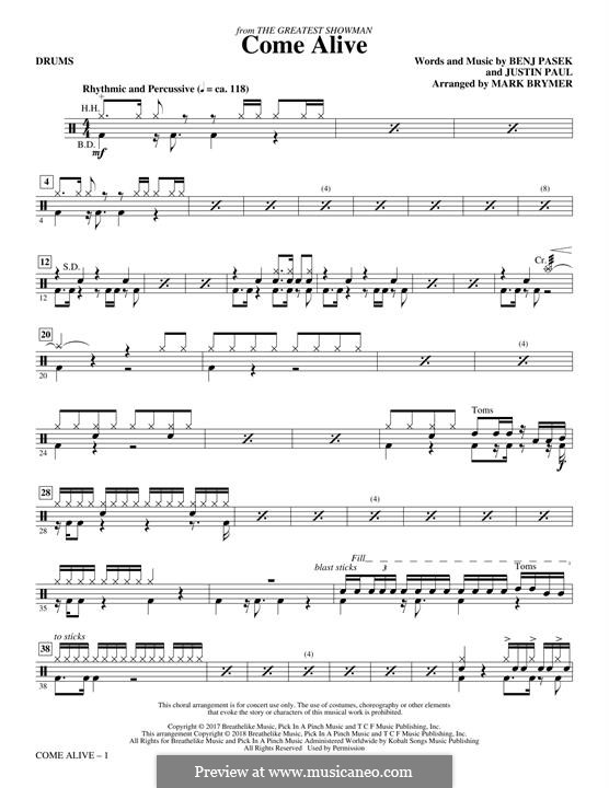 Come Alive (from The Greatest Showman): Drums part by Justin Paul, Benj Pasek