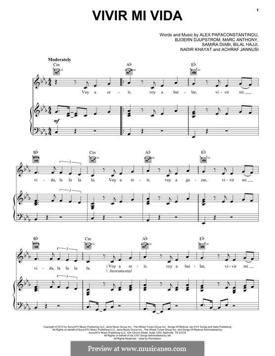 Vivir Mi Vida: For voice and piano (or guitar) by RedOne, AJ Junior, Bilal Hajji, Mark Anthony, Samira Diabi