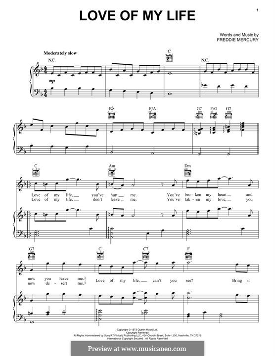 Love of My Life (Queen): For voice and piano (or guitar) by Freddie Mercury