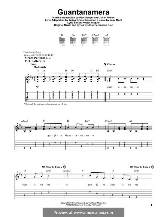 Guantanamera: For guitar with tab by Peter Seeger