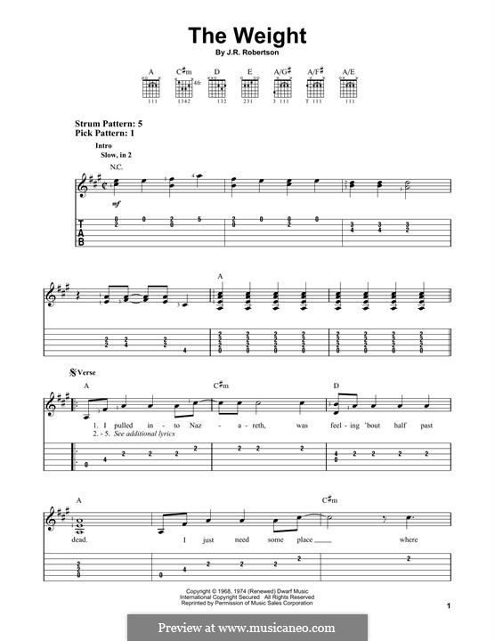 The Weight (The Band): For guitar with tab by Robbie Robertson