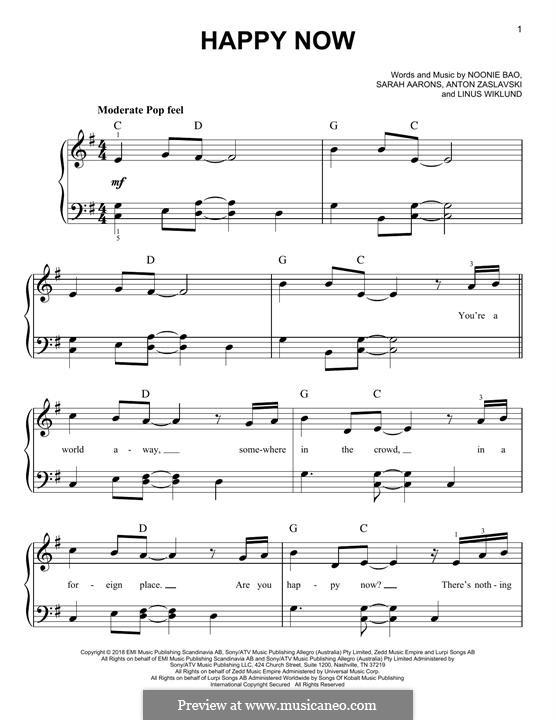 Happy Now (Zed feat. Elley Duhé): For piano by Linus Wiklund, Anton Zaslavski, Noonie Bao, Sarah Aarons