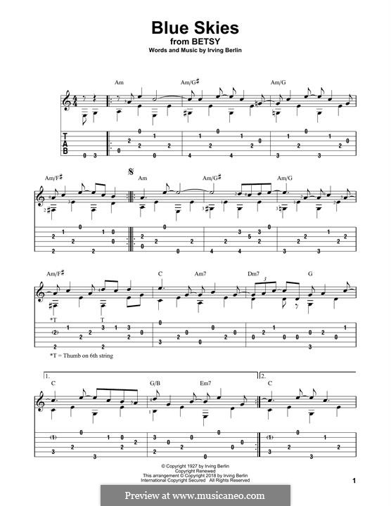 Blue Skies: For guitar with tab by Irving Berlin