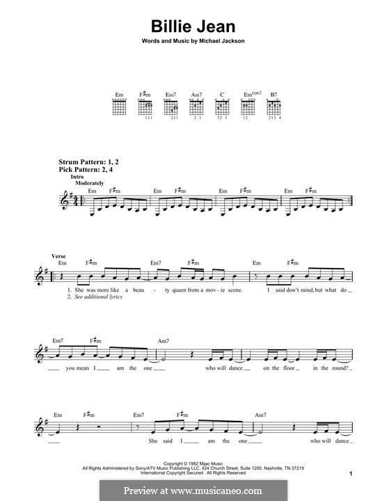 Billie Jean: For guitar with tab by Michael Jackson