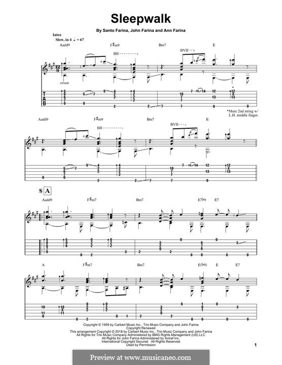 Sleepwalk (Santo & Johnny): For guitar with tab by Ann Farina, John Farina, Santo Farina