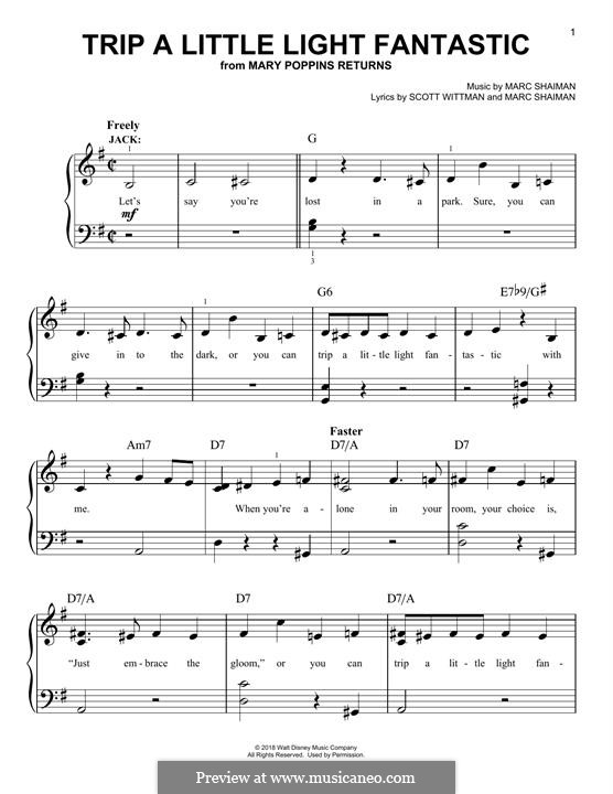 Mary Poppins Returns: Trip A Little Light Fantastic, for piano by Marc Shaiman