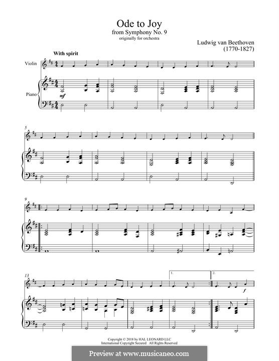 Ode to Joy (Printable scores): Version for violin and piano by Ludwig van Beethoven