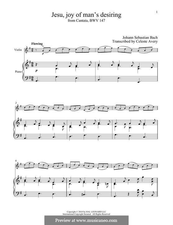 Jesu, Joy of Man's Desiring (Printable Scores): For violin and piano by Johann Sebastian Bach