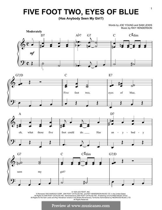 Five Foot Two, Eyes of Blue (Has Anybody Seen My Girl?): For piano by Ray Henderson