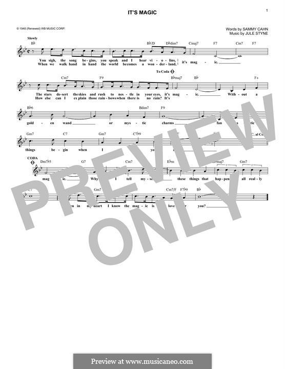 It's Magic: Melody line by Jule Styne