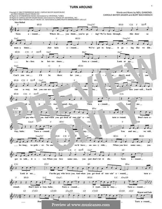 Turn Around: Melody line by Burt Bacharach, Carole Bayer Sager, Neil Diamond