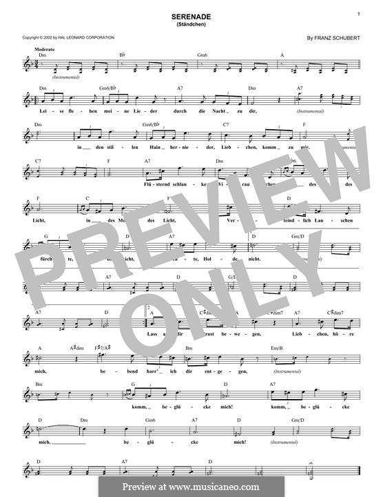 No.4 Ständchen (Serenade): Melody line by Franz Schubert