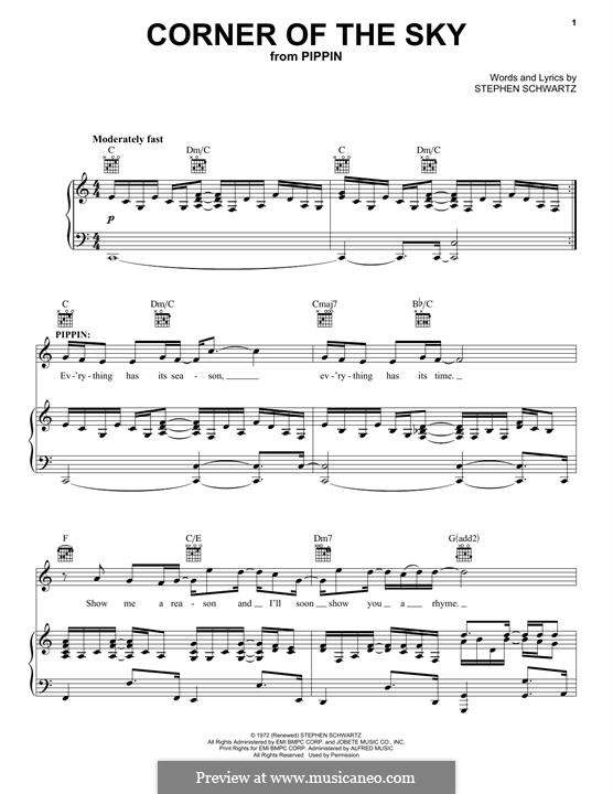 Corner of the Sky (from Pippin): For voice and piano (or guitar) by Stephen Schwartz