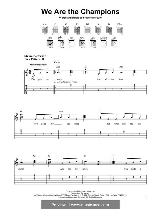 We are the Champions (Queen): For guitar with tab by Freddie Mercury