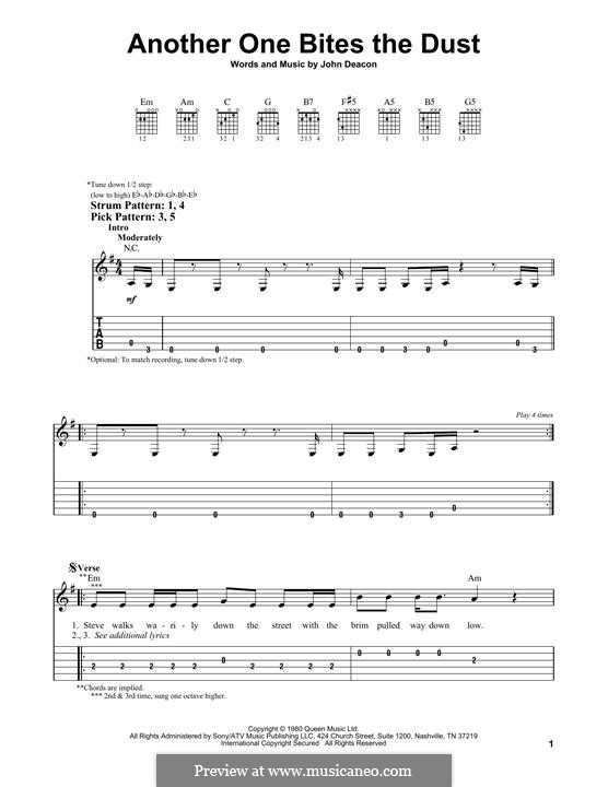 Another One Bites the Dust (Queen): For guitar with tab by John Deacon