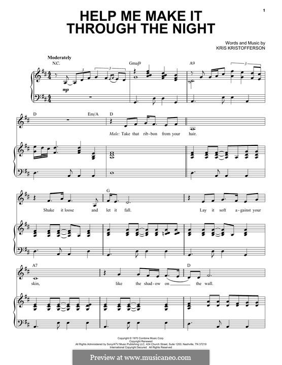 Help Me Make It Through the Night: For voice and piano by Kris Kristofferson