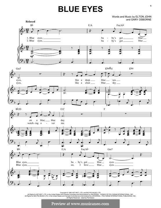 Blue Eyes: For voice and piano by Elton John, Gary Osborne