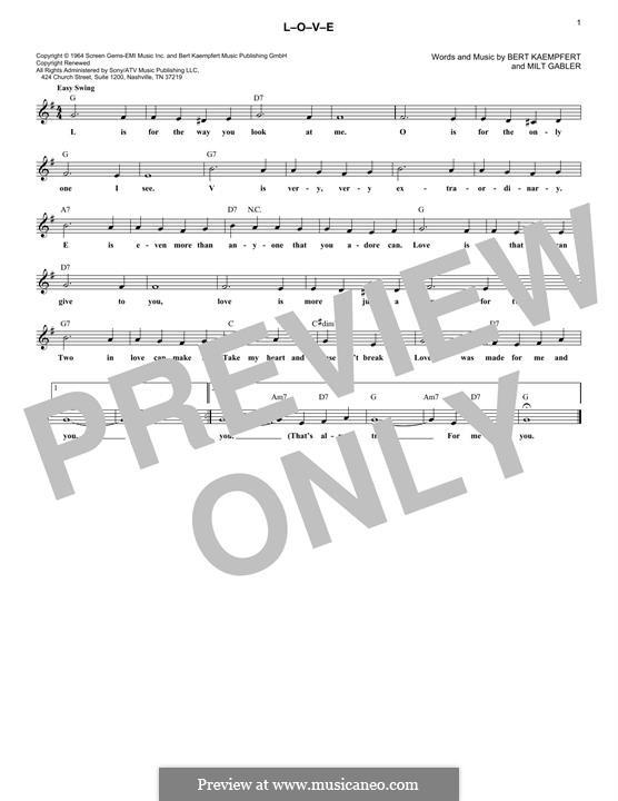 L-O-V-E (Nat King Cole): Melody line by Bert Kaempfert, Milt Gabler