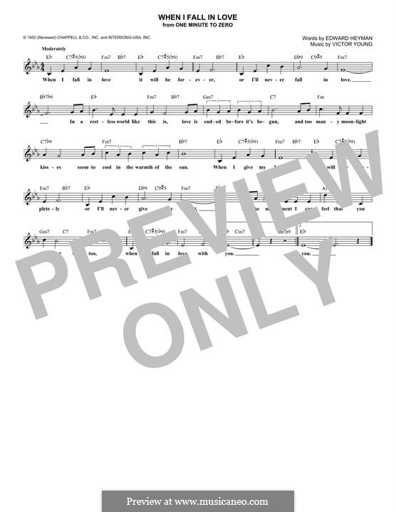 When I Fall in Love (Celine Dion): Lyrics and chords by Victor Young