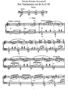 Six Variations on the Theme BACH, Op.10: For piano by Nikolai Rimsky-Korsakov