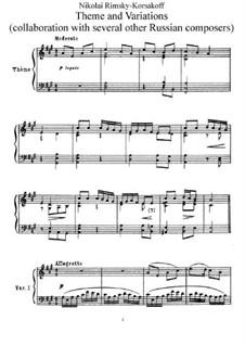 Theme and Variation: For piano by Nikolai Rimsky-Korsakov