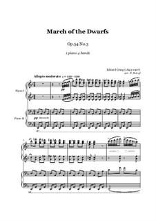 Lyric Pieces, Op.54: No.3 March of the Dwarfs, for piano four hands by Edvard Grieg