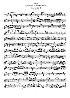 String Quartet No.4 in G Major, Hob.III/4 Op.1 No.4: Violin I part by Joseph Haydn