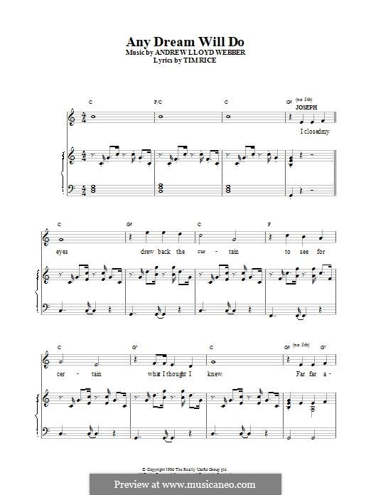 Any Dream Will Do: For voice and piano (or guitar) by Andrew Lloyd Webber